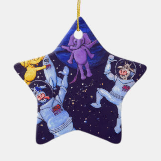 Space Cows and Space Elephants Double-Sided Star Ceramic Christmas Ornament