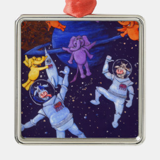 Space Cows and Space Elephants Square Metal Christmas Ornament