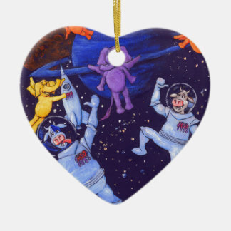 Space Cows and Space Elephants Double-Sided Heart Ceramic Christmas Ornament