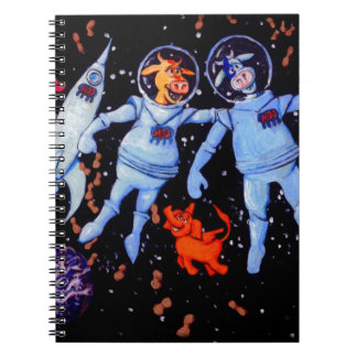 Space Cows Feed peanuts to Space Elephants Spiral Notebook
