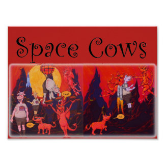 Space Cows on Mercury Poster