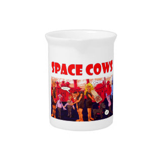 Space Cows on with Vegetarian Giants Drink Pitchers