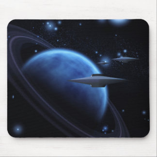 Space craft near gas giant mouse pad