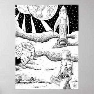 Space Crash B&W Poster