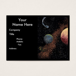 Outer space business cards templates zazzle space design comet theme chubby business card b colourmoves Image collections