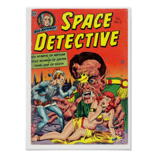 Space Detective from Golden Age Comic Art Poster