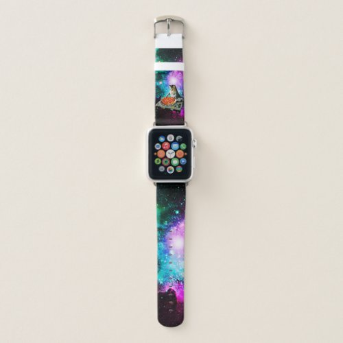 Space dj cat pizza apple watch band
