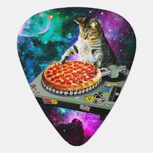 Space dj cat pizza guitar pick