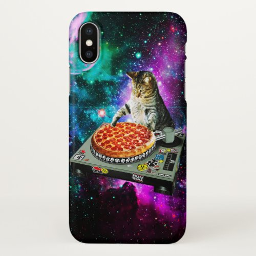 Space dj cat pizza iPhone x case