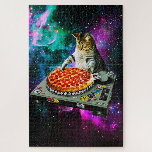 Space dj cat pizza jigsaw puzzle