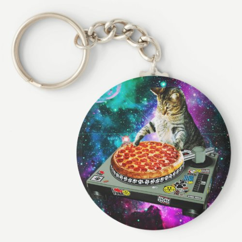 Space dj cat pizza keychain