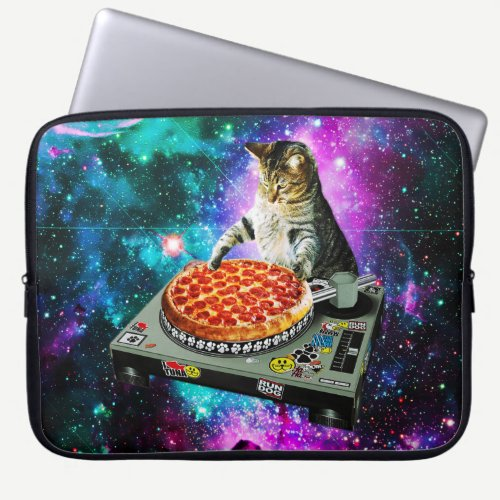 Space dj cat pizza laptop sleeve