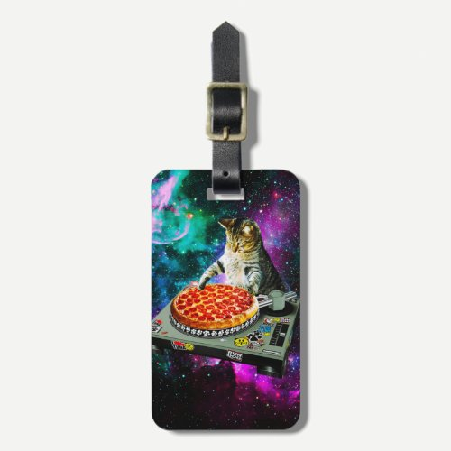 Space dj cat pizza luggage tag