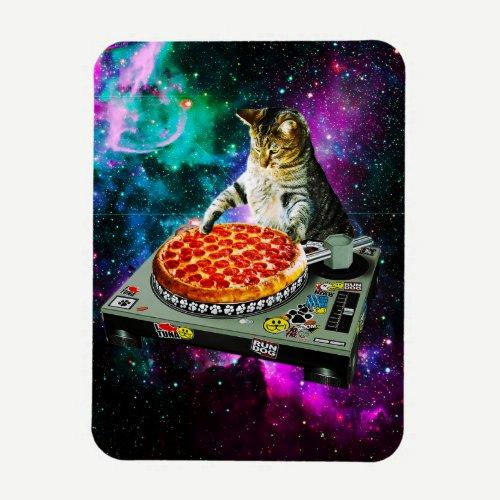 Space dj cat pizza magnet