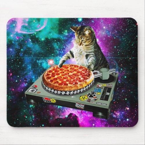 Space dj cat pizza mouse pad
