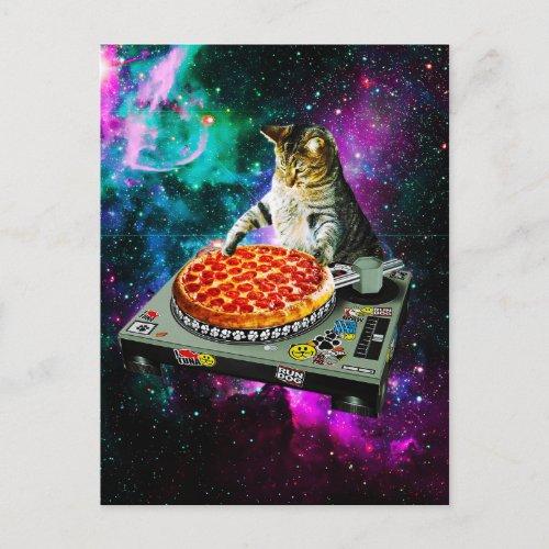 Space dj cat pizza postcard