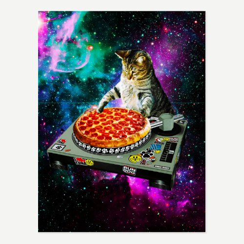 Space dj cat pizza postcard