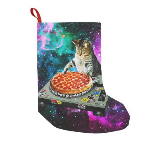 Space dj cat pizza small christmas stocking
