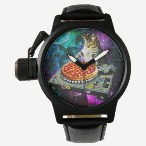 Space dj cat pizza watch