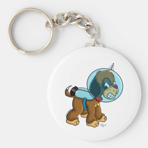 Space Dog Basic Round Button Keychain