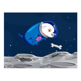 Space Dog Chasing A Bone Postcard