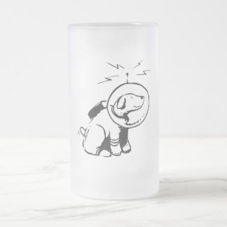 Space Dog Frosted Glass Beer Mug