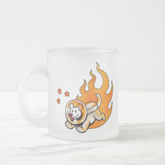 Space Dog Frosted Glass Coffee Mug