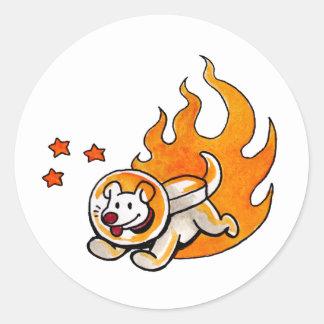 Space Dog Classic Round Sticker
