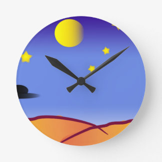 Space Drawing Round Clock