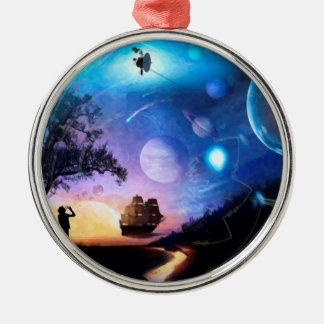 Space Exploration Artwork Voyager Spacecraft Metal Ornament