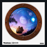 """Space Exploration Voyager Steampunk Porthole Wall Decal<br><div class=""""desc"""">This painting celebrates the ongoing voyage of NASA's twin Voyager spacecraft as they travel to the edge of our solar system and into the outer boundary known as interstellar space by depicting mankind&#39;s transition from ancient sailing vessels charting new lands to modern day adventurers dreaming of exploring the cosmos.</div>"""