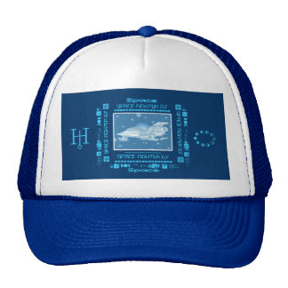 Space Fighter 67 Stars Blue & White Hats