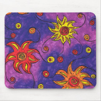 Space Flowers Mouse Pad
