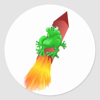 space frog classic round sticker