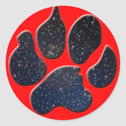 Space Furry paw Classic Round Sticker