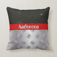 Space Galaxy and Silver Metal Monogram Pillow