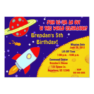 Space Galaxy Kids Birthday Invitation