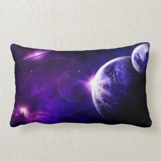 Space Galaxy Planets Stars in Purple Blue Tones Lumbar Pillow