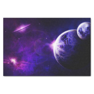 Space Galaxy Planets Stars in Purple Blue Tones Tissue Paper