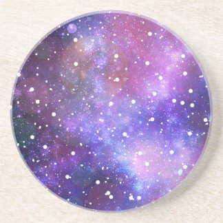 Space galaxy stars purple coffee coasters art
