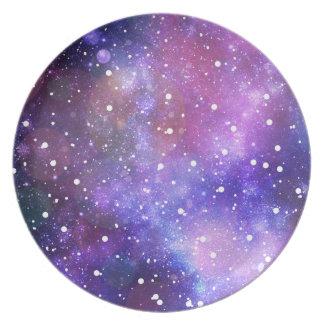 Space galaxy stars purple illustration decoration melamine plate