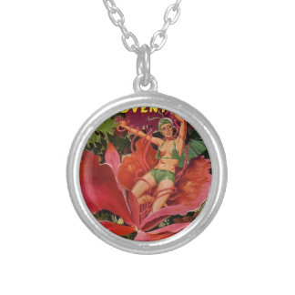 Space Girl Eaten by Flower Silver Plated Necklace