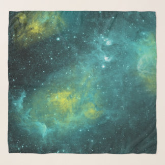 Space Green Yellow Watercolor Star Nebula Universe Scarf