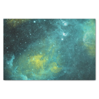 Space Green Yellow Watercolor Star Nebula Universe Tissue Paper