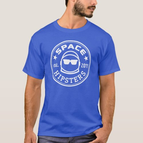 Space Hipsters Mens Logo Tee Royal Blue