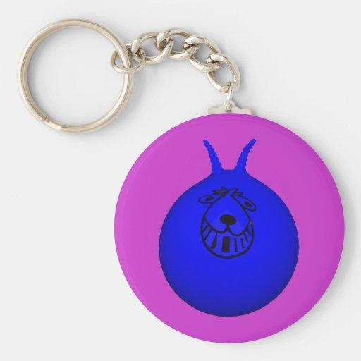 Space Hopper Keyring Blue/Purple Basic Round Button Keychain