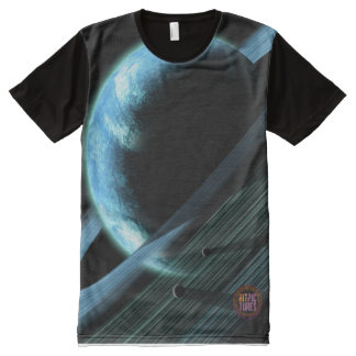 Space Horizons with Rings All-Over Printed T-Shirt