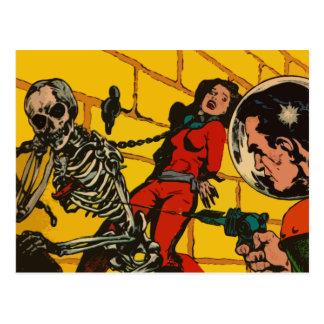 Space Horror - Vintage Science Fiction Comic Art Postcard