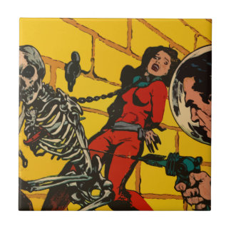 Space Horror - Vintage Science Fiction Comic Art Small Square Tile