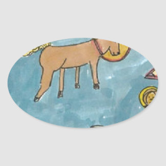 Space Horse Planet Oval Sticker